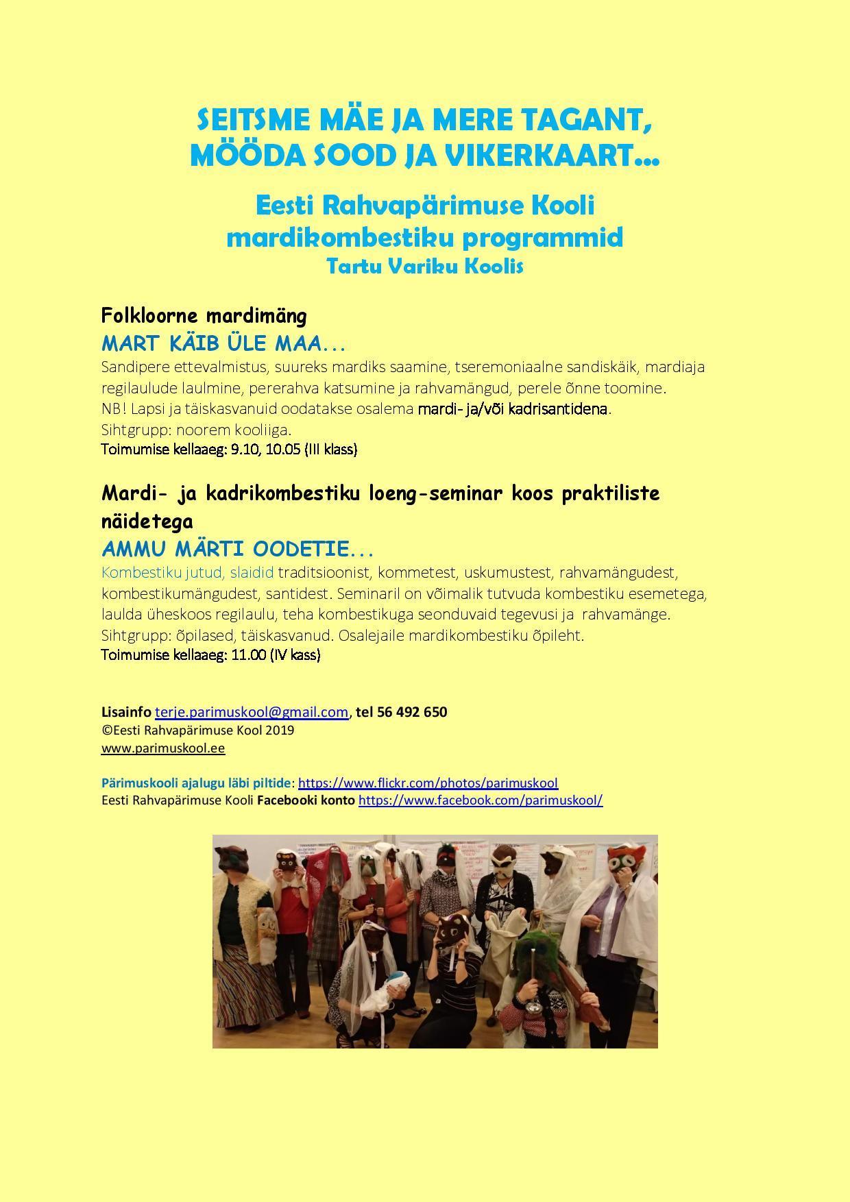 Mardikombestiku programmid Tartu Variku Koolis